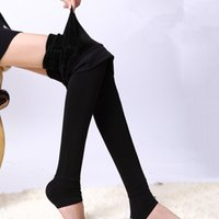 Wholesale Winter Thicken Warm Slim Leggings Highy stretched Ninth Pants Foot Tights for Women Lady Drop Shipping ALO13