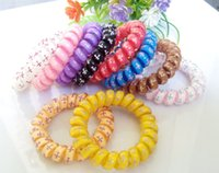 Wholesale 50pcs cm High Quality Cross Pattern Multicolor Telephone Line Hair Rubber ropes accessories for women Random delivery