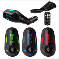 Wholesale 2014 New Remote Car Kit LCD MP3 Player Wireless FM Transmitter with USB SD MMC Slot Blue Red Green Colors support MHz FM Radio