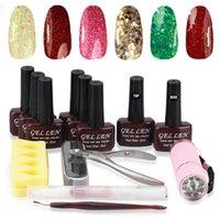 Wholesale Nail Art DIY Full Sets gel polish nail lacquer Base Top w mini led uv lamp nail art tools kit