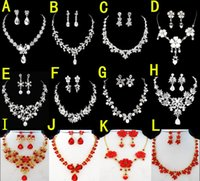 Wholesale Fashion Silver Plated Necklace Earrings Sets Rhinestone Wedding Accessories luxury crystal pearls Bridal Jewelry Set Hot Selling