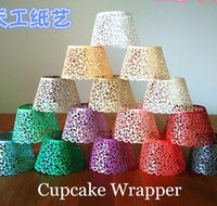 Wholesale Promotion Ivory Vine filigree Laser cut Lace Cup Cake Wrapper Cupcake Wrapper FOR Wedding christmas Party Decoration