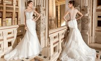 Cheap 2015 Luxury Sheath Appliques Wedding Dresses Sheer V Neck Ruched Tiered Organza Pleats Sweep Train Buttons Hollow Demetrios Bridal Gown 3218