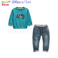 baby motor - SamgamiBaby Brand Cotton long sleeve Cartoon Motor t shirt denim pants outfits for Baby boys DHL for