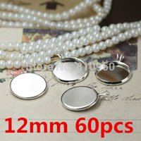 Wholesale 60pcs Inner Size mm Brass Silver Plated Vintage Pattern quot V quot buckle Pendant Cameo Cabochon setting