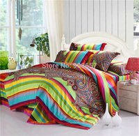 Wholesale Luxurious High Quality Thread Count Egyptian Cotton Green Red Novelty Print Bedding FULL QUEEN KING Bed Home Textile Set