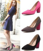 microfiber suede - 2015 Microfiber Suede Color Block Dress Pumps Women Shoes Chunky Heels woman dress shoes Pink Grey Black cm size to