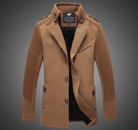 Wholesale 2015 mens autumn winter wool coat mens trench coats slim fit pure color long coats plus size wool trench coat XL