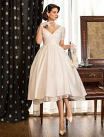 beautiful simple wedding dresses - 2016 Beautiful A line Princess Short Sleeves V Neck Ruched bodice and Taffeta Short Tea length Lace Skirt Wedding Bridal Dresses