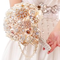 Satin brooch bouquet - 2015 Hot Sale Wedding Bridal Bouquets Crystal Pearls Wedding Supplies With Handmade Satin Rose Rhinestone Bride Holding Brooch Bouquet