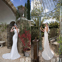 Cheap 2015 Berta Spring Wedding Dresses V neck Gorgeous Lace Mermaid Backless Bridal Gowns Sweep Train Custom Made Vintage Fabulous Hot Dress