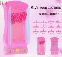 Wholesale Top Hot Doll Closet Kids Baby Girls Cute Lovely Mini Toy Wardrobe Furniture Closet for Barbie Dolls With Clothes Hangers Pink SV016781