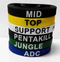 Nouveau arrive LOL GAMES Souvenirs Silicone Wristband LIGUE de LEGENDS Bracelets avec ADC, JUNGLE, MID, SUPPORT, TOP, Nouveau style Carving D216
