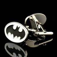Wholesale FC Jewellery silver batman black cufflinks male French shirt cuff links for men s Jewelry Gift