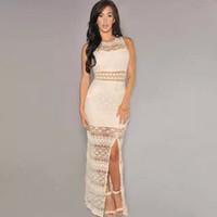 western dresses - 2015 Women s Spliting Maxi Lace Dresses Fashion Western Hallow Out Casual Long crochet dress