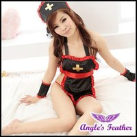 Cheap 151020 SY128 sexy costume cute black nurse lingerie hot dress catsuit sexy underwear women latex dress sexy sm cosplay costume uniform
