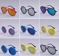 eye protection glasses - 2015 Cool Style Children Summer Sunglasses Goggles Kids UV Protection Eyewear Childs Coloful Beach Glasses Fashion Boys K4174