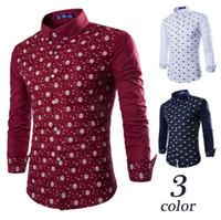 Wholesale 2016 New Fashion high quality printing Long Sleeve Shirts Men Slim Casual Design stand collar long sleeves shirts