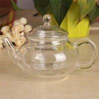 Wholesale Hot Sale ml Filter Transparent Glass Teapot Heat Resistant Flower Tea Set Coffee Teapot Convenient Kitchen Office Tea Set