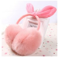 Wholesale Bow Ear Muffs Warm Furry Winter Ear Muffs for Women Ladies Colorful Plush Fluffy Imitation Rabbit Fur Ear Muff Warmers Winter Earmuffs