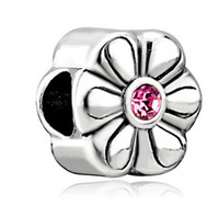 Wholesale Charms Whosale - Free Shipping Whosale Rhodium Plating Birthstone Charms Flower Rose October Birthstone Flower Charm For Pandora Bracelet