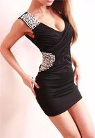 # 532 Hot Moda feminina Vestidos Vestidos Sexy Magro Clube barato vestido de festa de pérolas lantejoulas V-neck Saias Backless Casual desgaste do clube Vestido justo