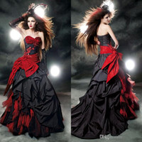 red and black wedding dresses - Vintage Ball Gowns Lace Appliques Gothic Wedding Dresses One Shoulder Neck Sleeveless Bakeless Red and Black Prom Dress Bridal Gowns