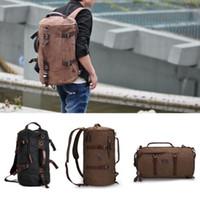 Wholesale Men s Vintage Canvas backpack Rucksack shoulder travel Hiking Camping bag