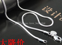 Wholesale 50pcs MM quot Sterling Silver Smooth Snake Chain Necklace hot sale Fit pendant fashion jewelry