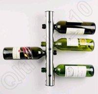 wine rack stainless steel - 100PCS HHA716 Hot Sell Partical Stainless Steel Bar Wine Rack Wine Shelf Wall Mounted Holder Bottles