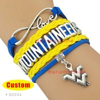west virginia - Pieces Infinity Love NCAA West Virginia Mountaineers Sports Bracelet Blue Gold Custom Sports Bracelet Drop Shipping