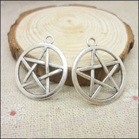 Wholesale 75pcs Charms Pentagram Pendant Tibetan silver Zinc Alloy Fit Bracelet Necklace DIY Metal Jewelry Findings