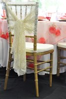 Cheap 2016 White Ivory Vintage Lace Wedding Chair Bow Sashes 15 Pieces A Lot Beach Garden Outdoor Wedding Decoration Accessories Free Shipping