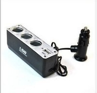 Wholesale product selling a three car cigarette lighter with USB interface vehicle power distributor