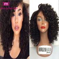 african bank - Mongolian Virgin Human Hair Afro Kinky Curly Wig Glueless Front Lace Wig Full Lace Wig Natural Hairline For African Americans