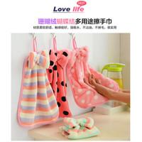 baby lint - Super soft coral velvet towel kitchen Hanging towel absorbent lint free cloth towel kitchen towel
