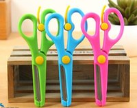 Wholesale Kids Safety DIY Cutting Scissors cm Office Scissors Photo Paper Album cutting for little Baby DHL freeshipping