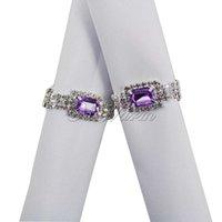 Wholesale 100pcs Nice Diamante Gem Silver Napkin Ring Bridal Wedding Bridal Banquet Favour Decor CJH CK