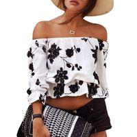 Vogue Femmes Tops à imprimé floral à manches longues T-shirt manches courtes FG1511