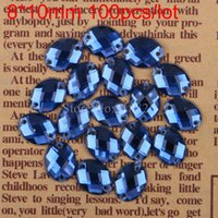 Wholesale DIY Holes Blue Ellipse Sew On Crystal Beads mm Sewing On Oval Rhinestone Sew On Flatback Crystals For Garment
