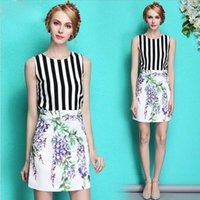 ladies white skirt - 2015 Lady European and American Style Black and White Striped Vest Printed Lavender Skirt Straight Bust in Two piece Suit Cotton Sets