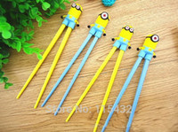 Wholesale DHL Ship Cartoon Despicable me Minions pair Kids Intelligent Training baby learning chopsticks early education