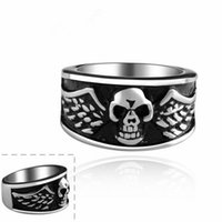 Wholesale 2014 New Arrival Unisex Punk Style Creative Vintage Flying Skull Titanium Steel Rings