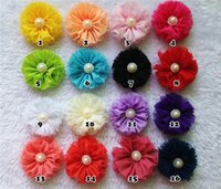 children fabric - European and American children s headwear shop supply cheap baby chiffon fabric flower head flower flash plus fake pearl SKU A002