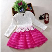 Wholesale new fashion Girls Kids Pageant Princess Tutu Crochet Dress Party Wedding Tulle Dress Year