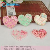 Wholesale Min order New Fashion mm resin cabochon Mix color floral heart shape with bow flat back cabochon for girl DIY022