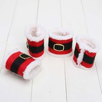 Wholesale 19X7CM Christmas Delicate Red Flannel Napkin Rings Holders Christmas Party Banquet Table Decoration Christmas Gifts for Home