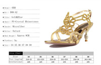 Gold Blue Sandal Floral Crystal Rhinestones 8cm High Heels 2016 Prom Evening Party Robe Femme Lady Mariage Chaussures de mariage