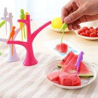 Wholesale 6 Birds Shape Forks stick Vegetable Fruit Forks Cute Tableware Forks For Kids Gift