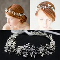 Wholesale 2015 Girl Bridal Women Party Headpieces Vintage Frontlet God Silver Hair Band headbands Handmade Imitation Pearl Rhinestone Crystal